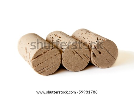 Three wine corks isolated on a white background - stock photo