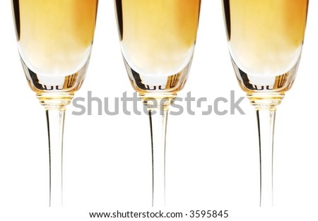 Three wine glasses isolated on the white - stock photo