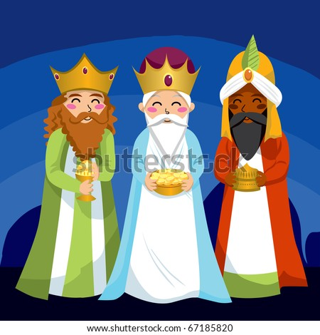 Three Wise Men bring gifts to Jesus on Christmas - stock photo