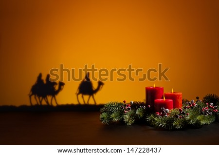 Three wise men on the way to Jesus in Bethlehem - stock photo