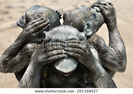 Three wise monkeys or Three Mystic Apes sacred ancient icon - stock photo