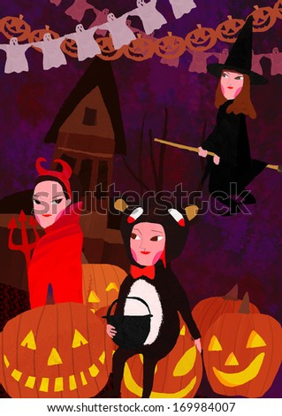 Three women dressed up for Halloween as a witch, devil and cat. - stock photo