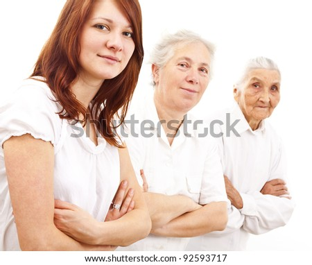 three women from three generations standing in white  generations in white standing in f - stock photo