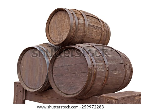 Three wooden barrels for wine with steel ring isolated on white. Clipping path included. - stock photo