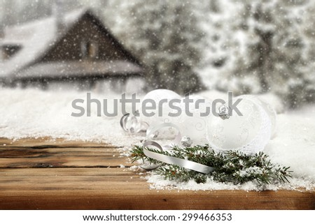 three wooden desk space green tree and wooden board place  - stock photo