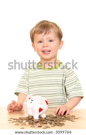 three years boy and piggy bank isolated on white - stock photo