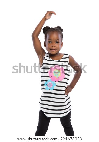 Three Years Old Adorable African American Girl Dance Pose  Portrait on White Background - stock photo