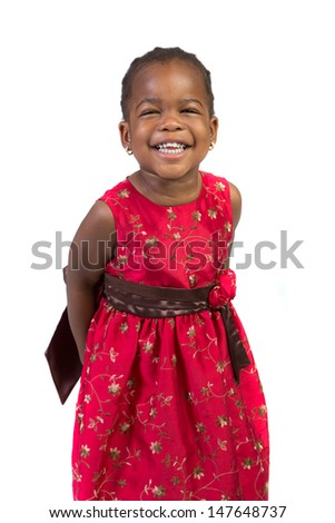 Three Years Old Adorable African American Girl Portrait on White Background - stock photo