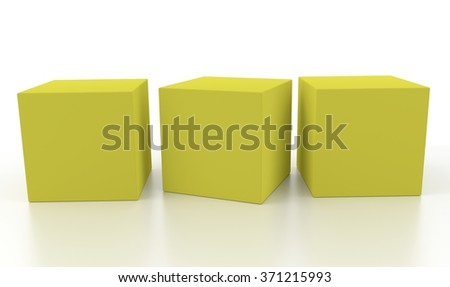 Three yellow aligned 3d blank concept boxes with shadows isolated on white background. Rendered illustration. - stock photo