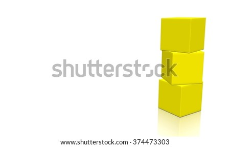 Three yellow 3d blank concept boxes on top of each other, isolated on white background. Rendered illustration.  - stock photo