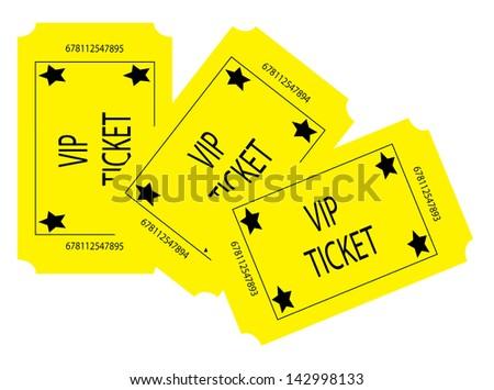 Three Yellow VIP Tickets - stock photo
