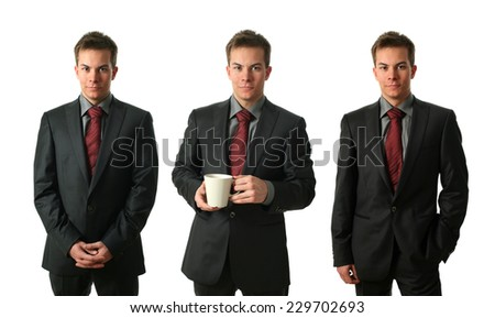 Three young businessmen wearing formal clothers and holding a tea cup isolated on white - stock photo