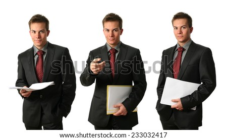 Three young businessmen with documents isolated on white - stock photo