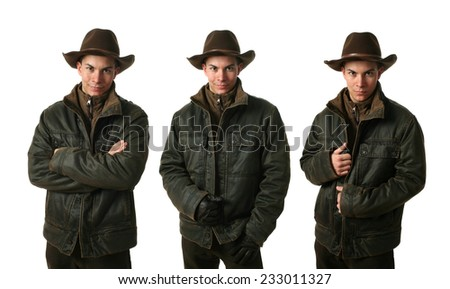 Three young men wearing winter clothes isolated on white - stock photo