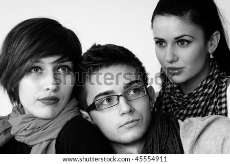 three young people - stock photo