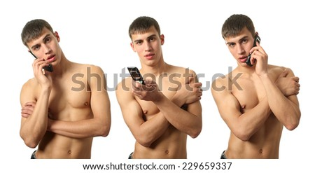 Three young sexy men calling on cell phones isolated on white - stock photo