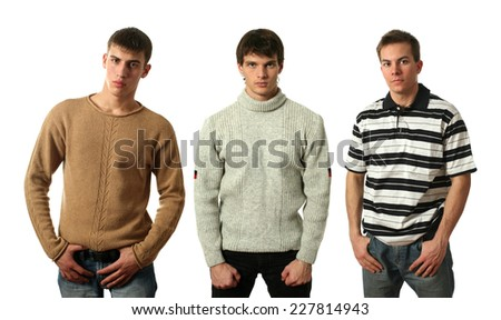 Three young sexy men wearing casual clothes isolated on white - stock photo