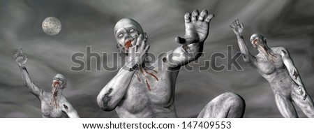 Three zombies covered with blood moving in the stormy grey night by full moon - stock photo