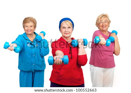 Threesome group of senior women doing stretching exercise.Isolated on white. - stock photo