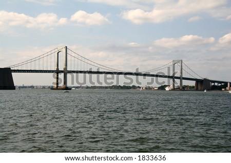 Throgs Neck Bridge - New York - Connecting Queens to the Bronx - stock photo