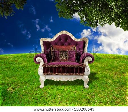 Throne Fantasy Background - stock photo