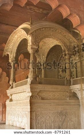 Throne of Mughal Emperor, Red Fort, Delhi, India - stock photo