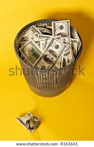 thrown out money and crushed bond - stock photo