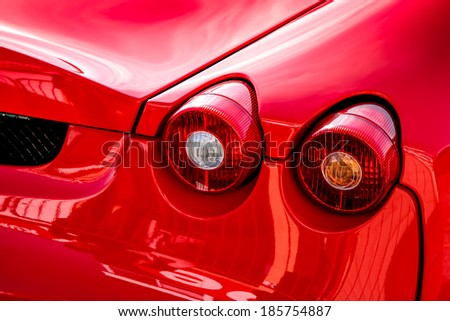 THRUXTON, HAMPSHIRE/UK - MARCH 20 : Close-up of the rear of a Ferrari sports car at Thruxton racing circuit on March 20, 2009 - stock photo