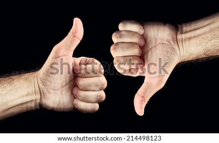 Thumb down and thumb up for like and dislike or Approval and disapproval concept. - stock photo