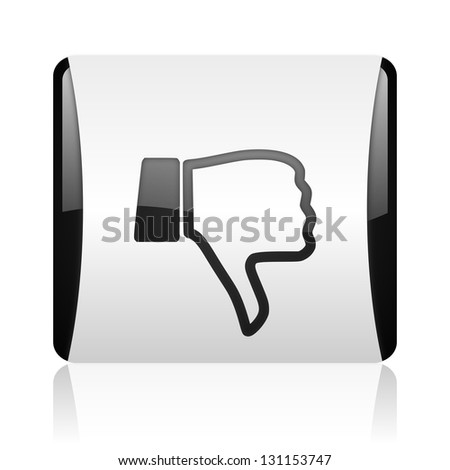thumb down black and white square web glossy icon - stock photo