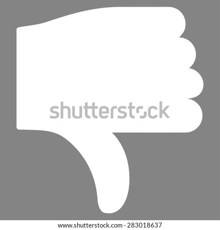 Thumb down icon from Basic Plain Icon Set. Style: flat symbol icon, white color, rounded angles, gray background. - stock photo