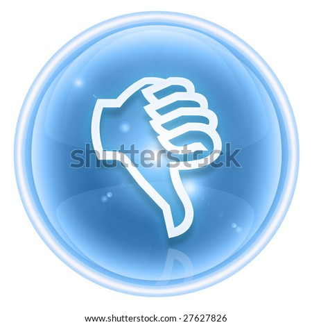 thumb down icon ice, isolated on white background. - stock photo