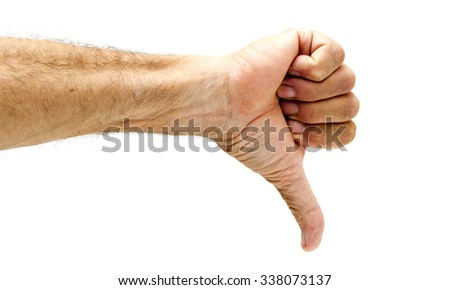 Thumb down, male hand on white. - stock photo