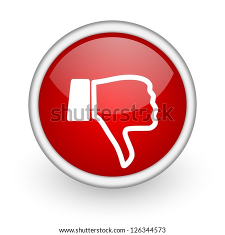 thumb down red circle web icon on white background - stock photo