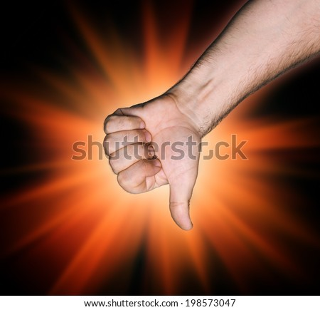 Thumb down sign on abstract red star background - stock photo