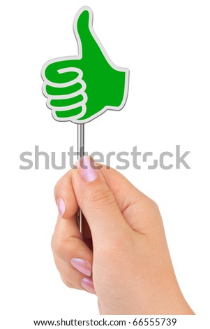 Thumb sign in hand isolated on white background - stock photo