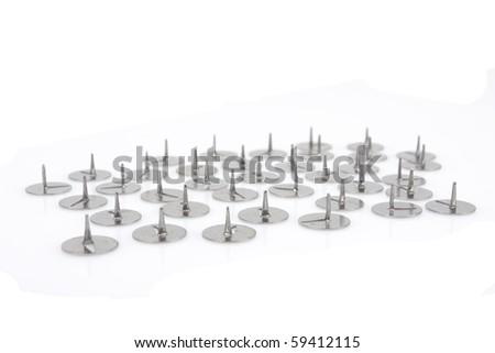 thumb tacks - drawing pins, isolated on white - stock photo