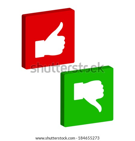 thumb up and down - button - stock photo