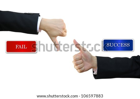 Thumb up and thumb down business man hand signs for success and fail - stock photo