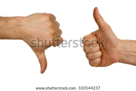 Thumb up and thumb down  sign isolated on white background - stock photo