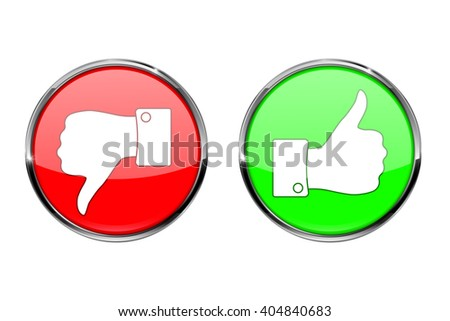 Thumb up button and thumb down button, round shiny icon.   illustration isolated on white background. Raster version - stock photo
