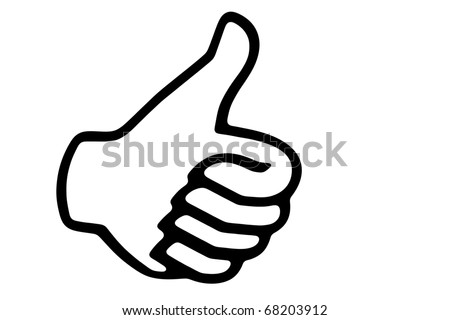 Thumb up concept, black and white - stock photo