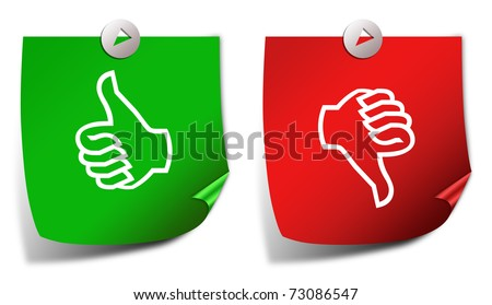 Thumb up down stickers - stock photo