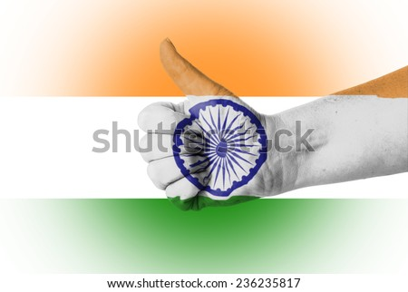 Thumb up for India over India Flag  - stock photo