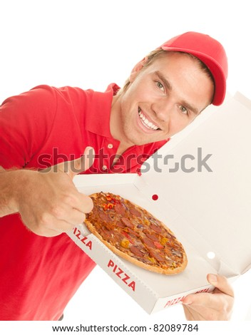 thumb up for pizza - stock photo