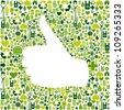 Thumb up hand over Go green icons texture background. - stock photo