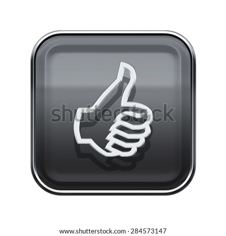 thumb up icon glossy grey, isolated on white background - stock photo