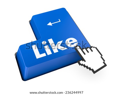 Thumb Up Like Button key - Stock Image , social media - stock photo