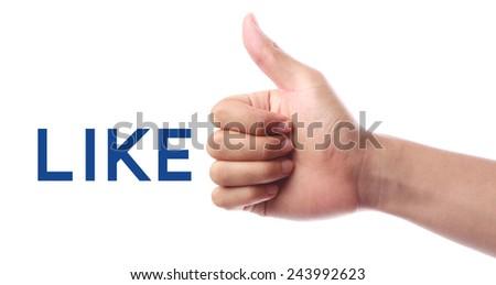 Thumb up like isolated on white background. - stock photo
