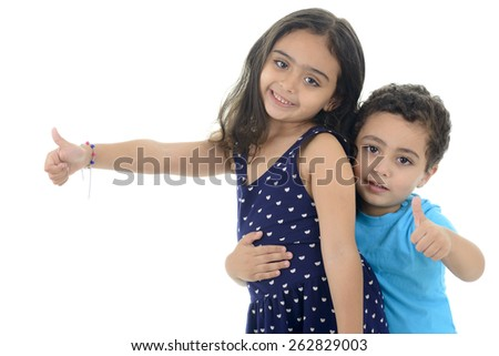 Thumb Up Little Happy Kids Isolated on White Background - stock photo